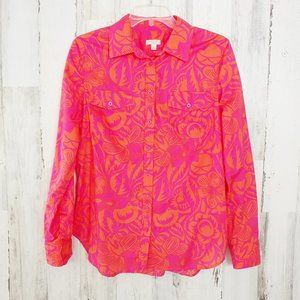 Talbots Small Button Up Shirt Bright Floral